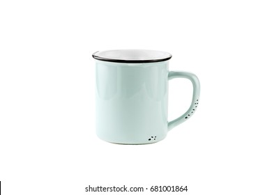A teal colored enamel coffee cup or mug with copy space for logo isolated over a white background with clipping path included.