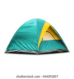 Teal dome tent, isolated on white background with clipping path