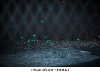 Teal Glitter Lights Background. Vintage Sparkle Bokeh With Selective Focus. Defocused.