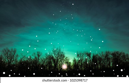 Teal morning sky with sunrise, silhouette trees and floating white orbs rising up to the sky-Fantasy art 2018 Photography art illustration