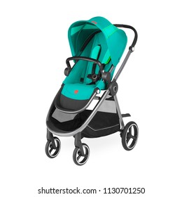 Teal Stroller Isolated on White. Side View of Turquoise Blue Baby Transport with Canopy and Swivel Front Wheels. Infant Carriage Seat. Travel System. Pushchair or Pram with Adjustable Showerproof Hood