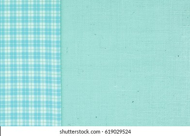 Teal and White Check Patterned Fabric on Side of Turquoise Burlap Background with Empty Room or Space for copy, text, words or your design.  It's horizontal that works as a vertical.