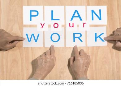 team arrange wording together , plan your work