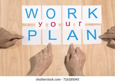 team arrange wording together , work your plan