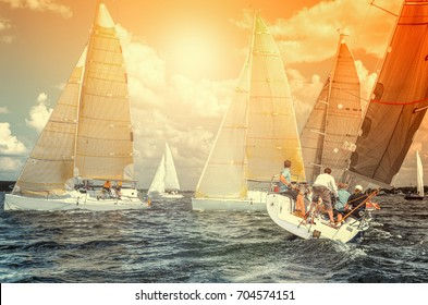Team athletes participating in the sailing competition - yacht race, regatta. Sailboats. Recreational Water Sports, Extreme Sport Action. Healthy Active Lifestyle. Summer Fun Adventure.