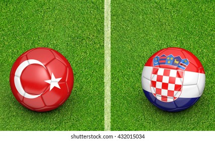 Team balls for Turkey vs Croatia football tournament match, 3D rendering