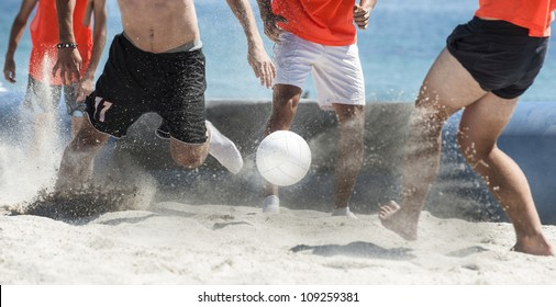 team beach soccer  playing