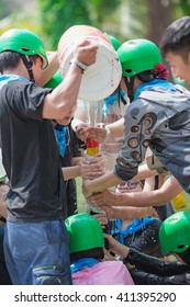 """Team building activities for teamwork - This activity is called """"FILL WATER IN THE PIPE GAME"""""""