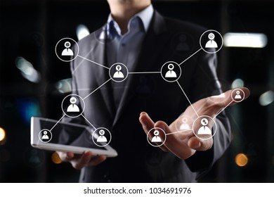 Team building structure and organization concept. HR and recruitment.