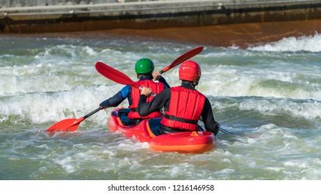 Team building white water rafting