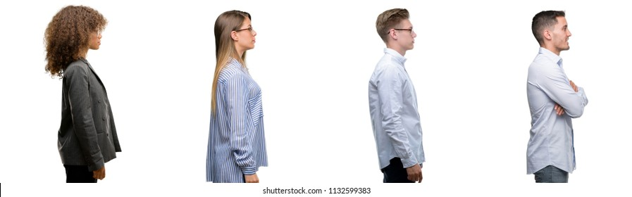 Team of business men and women looking to side, relax profile pose with natural face with confident smile.