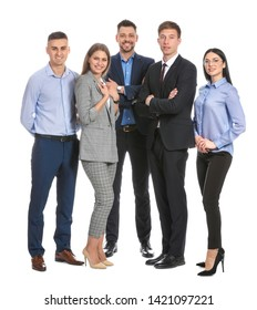 Team of business people on white background