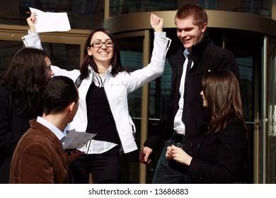 team of business people winning