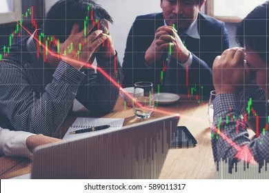 Team businessman with chart in the fall. economy or stock market going down.