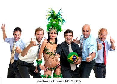 Team of businessmen and brazilian carnaval dancer with soccer ball