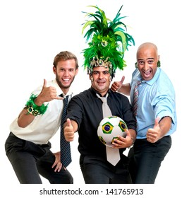 Team of businessmen with brazilian soccer ball and Carnaval colors