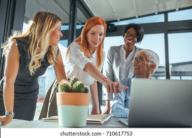 Team of businesswomen working on a laptop in a cafe.