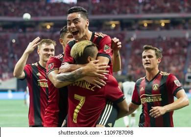 Team Celebrates - MLS Atlanta United host Philadelphia Union on June 2nd 2018 at the Mercedes Benz Stadium in Atlanta, Ga - USA