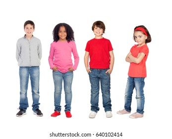 Team of children isolated on a white background
