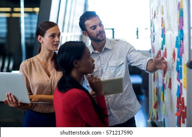 Team of colleagues standing by white board reading sticky notes