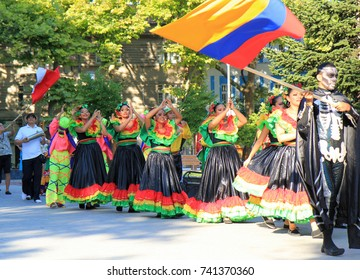 Team Columbia at the opening of the international folklore festival in Varna (Bulgaria) 30 July 2017.