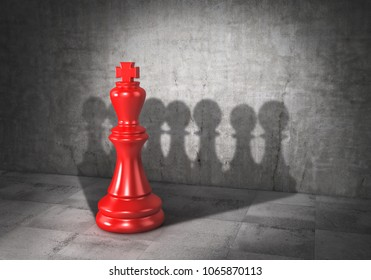 Team concept. Force of teamwork. Democracy. Chess king cast shadow in form of pawn group. 3d illustration
