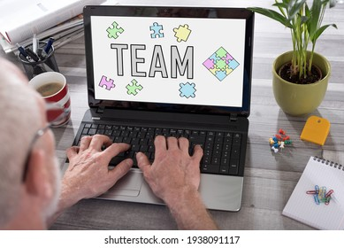 Team concept shown on a laptop used by a man
