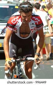 A Team CSC Rider on the  Alpe D'Huez Time Trial Tour de France 2004