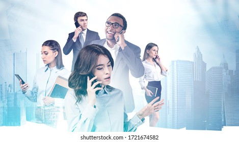 Team of diverse business people talking on smartphones in city. Concept of business communication and technology. Toned blurry image double exposure