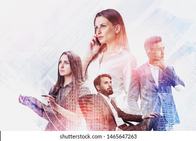 Team of diverse business people using gadgets and working with documents in city with double exposure of internet icons. Concept of smart city and teamwork. Toned image