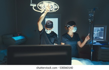 team doctor surgeon in the operating room in the clinic