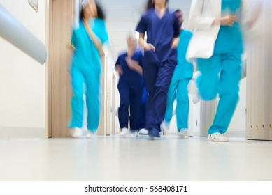 Team of doctors in a great hurry