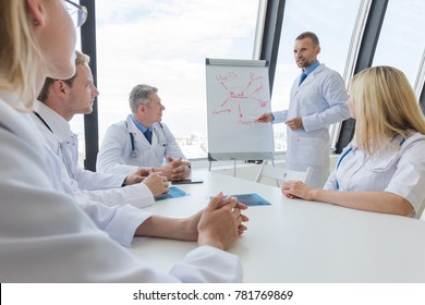 Team of doctors listening mental health conceptual presentation in clinical office