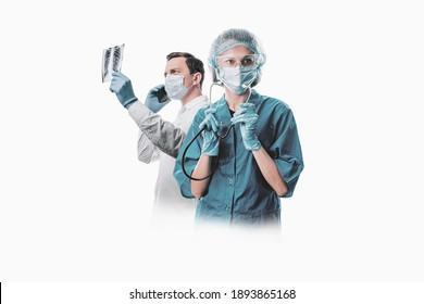 Ärztemannschaft, die Krankheiten und Viren bekämpft