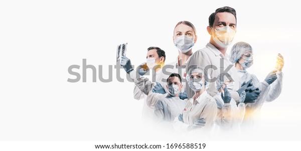 team of doctors men and women fighting diseases and viruses