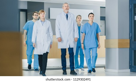 Team of Doctors, Nurses and Assistants Walking through the Lobby of the Hospital. Professional Medical Personnel Working, Saving Lives.