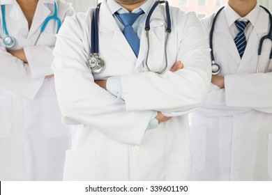 team of doctors and nurses at hospital