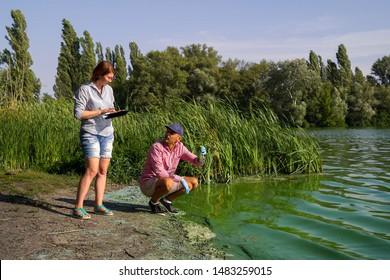 team of ecologists take samples of green algae on bank of polluted river
