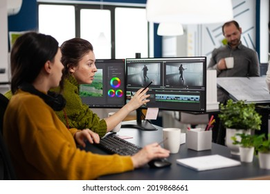 Team of editors women working with modern studio post production software in digital multimedia company. Video maker employees editing film montage in creative agency looking at computer