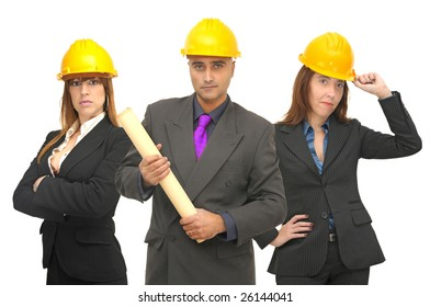 Team of engineers isolated against a white background