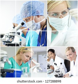 A team of female medical research scientists young women in a science laboratory, with microscopes and test tubes wearing surgical masks and a stethoscope