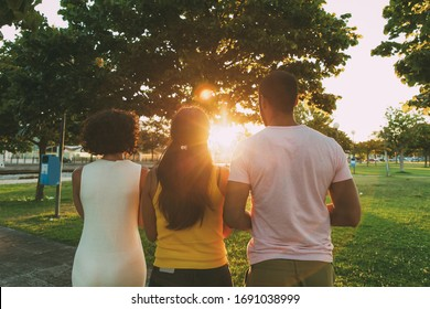 Team of friends looking at sunset in city park. Rear view of man and women standing on grass together. Sunset in city concept
