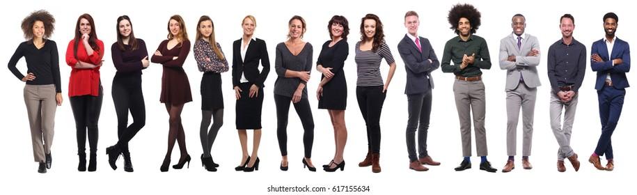 Team of full body people