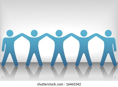 A team or group of five people with hands raised celebrate cooperation, teamwork, victory, winning, etc. Include clipping path of the people.