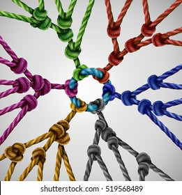 Team groups network as individual diverse teams coming together connected to a central point as an abstract communication concept or social connection metaphor with linked ropes of different colors.