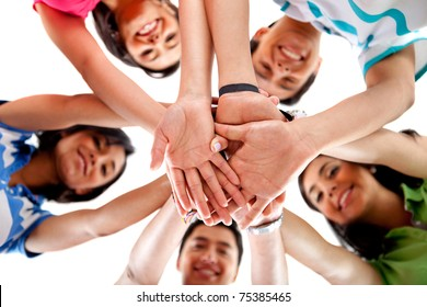 Team with hands together - isolated over a white background