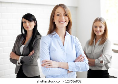 Team of happy businesswomen