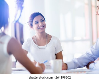 Team having a discussion in office
