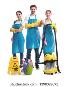Team of janitors on white background