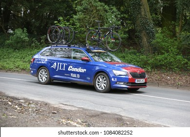 Team JLT Condor support vehicle during the Tour de Yorkshire : Cote de Baggaby Hill, Warter, East Yorkshire, UK : 3 May 2018 : Pic Mick Atkins
